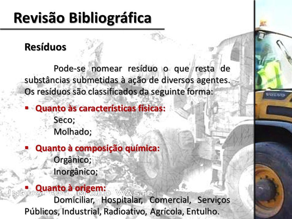 Revisão Bibliográfica Resíduos Pode-se nomear resíduo o que resta de substâncias submetidas à ação de diversos agentes. Os resíduos são classificados