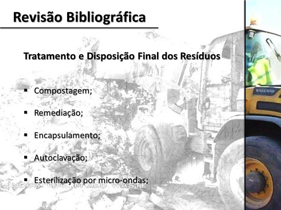 Revisão Bibliográfica Tratamento e Disposição Final dos Resíduos  Compostagem;  Remediação;  Encapsulamento;  Autoclavação;  Esterilização por mi