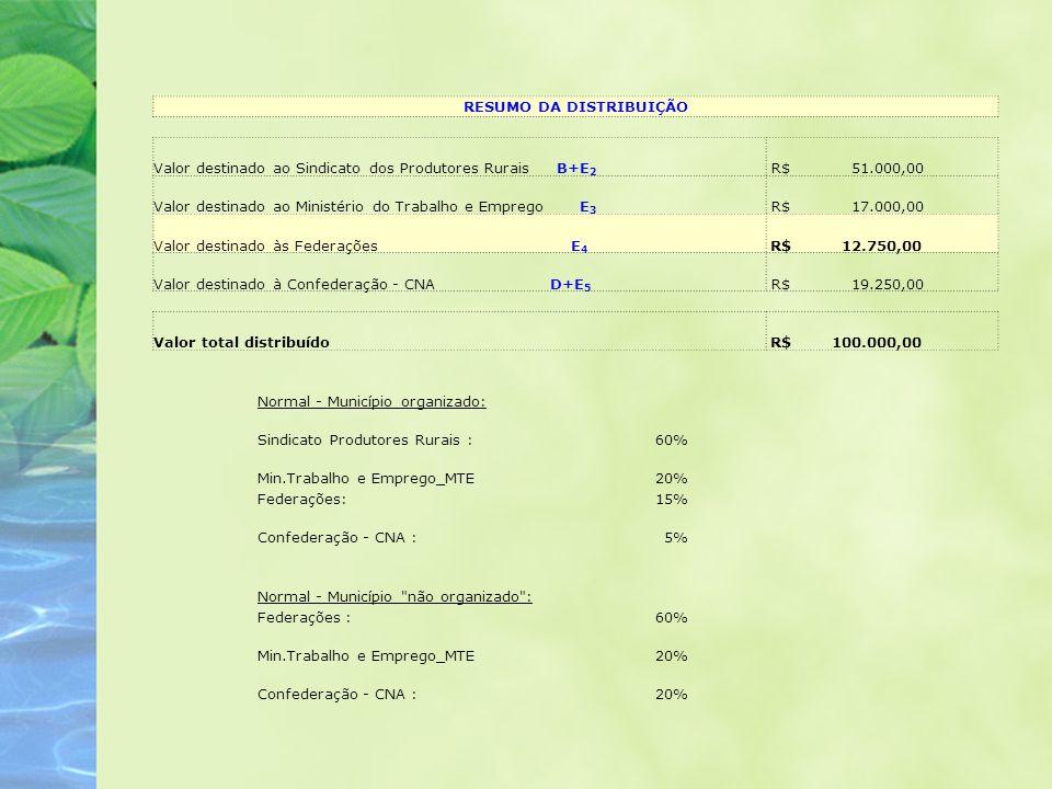 RESUMO DA DISTRIBUIÇÃO Valor destinado ao Sindicato dos Produtores Rurais B+E 2 R$ 51.000,00 Valor destinado ao Ministério do Trabalho e Emprego E 3 R