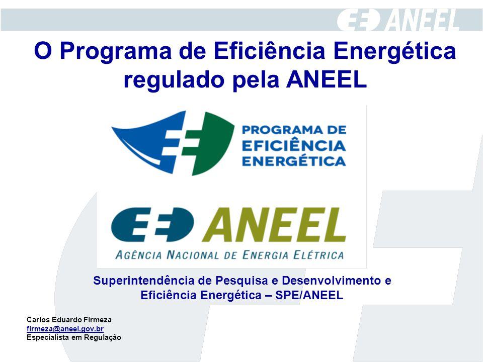 O Programa de Eficiência Energética regulado pela ANEEL Superintendência de Pesquisa e Desenvolvimento e Eficiência Energética – SPE/ANEEL Carlos Edua