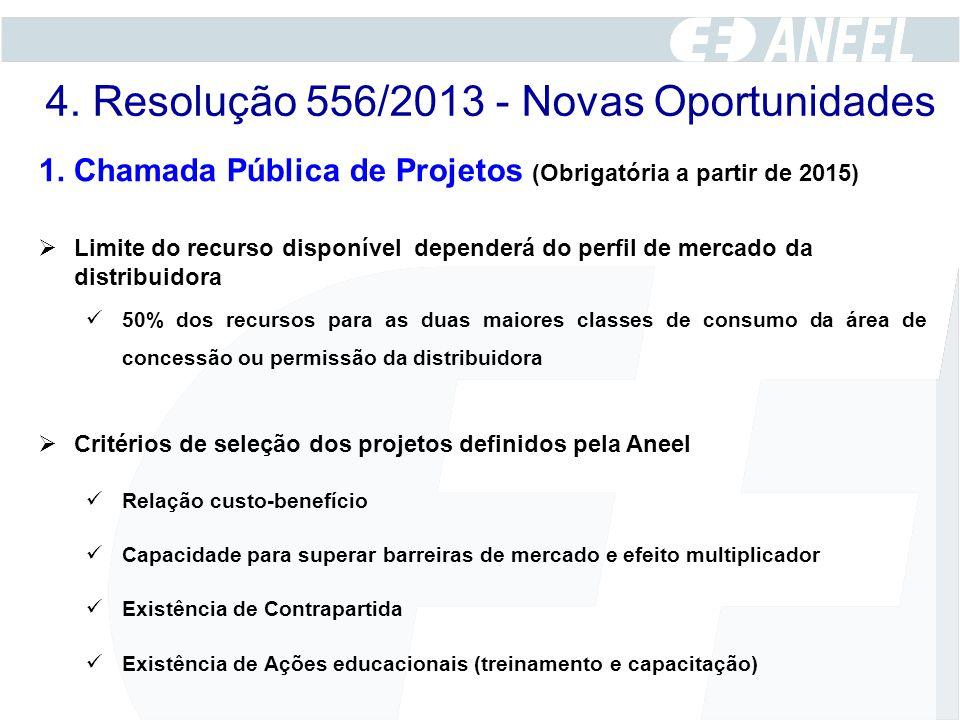 1. Chamada Pública de Projetos (Obrigatória a partir de 2015)  Limite do recurso disponível dependerá do perfil de mercado da distribuidora 50% dos r