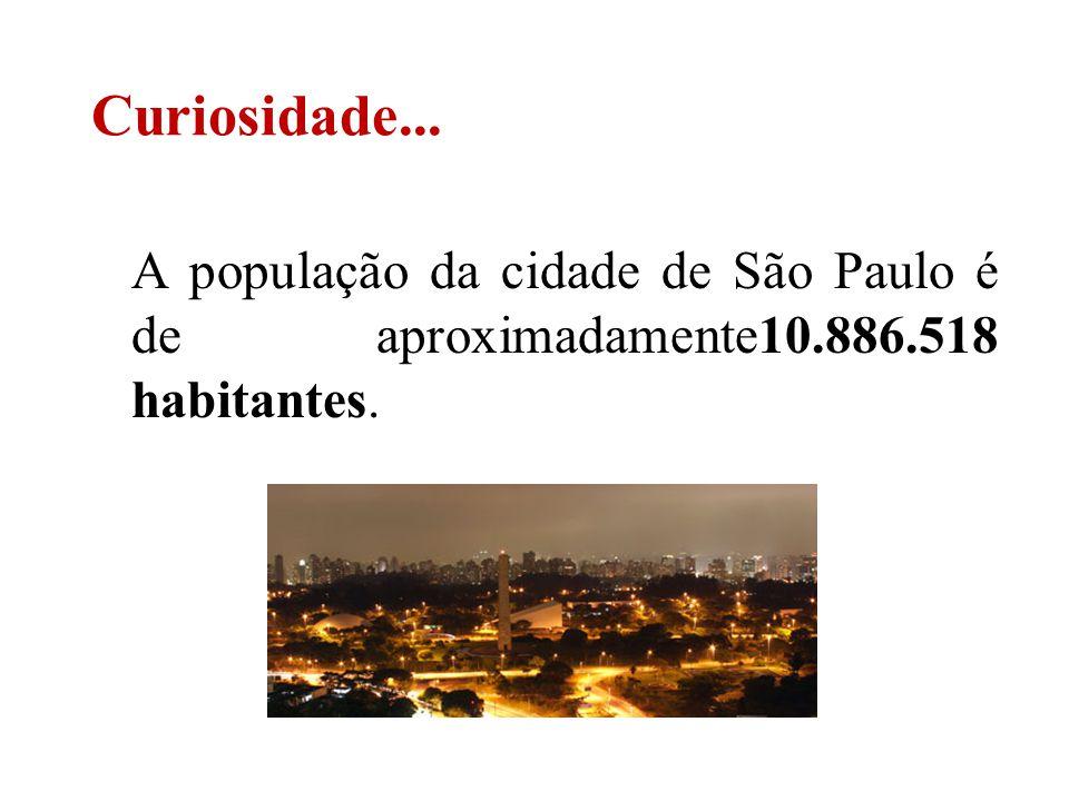 A população da cidade de São Paulo é de aproximadamente10.886.518 habitantes. Curiosidade...