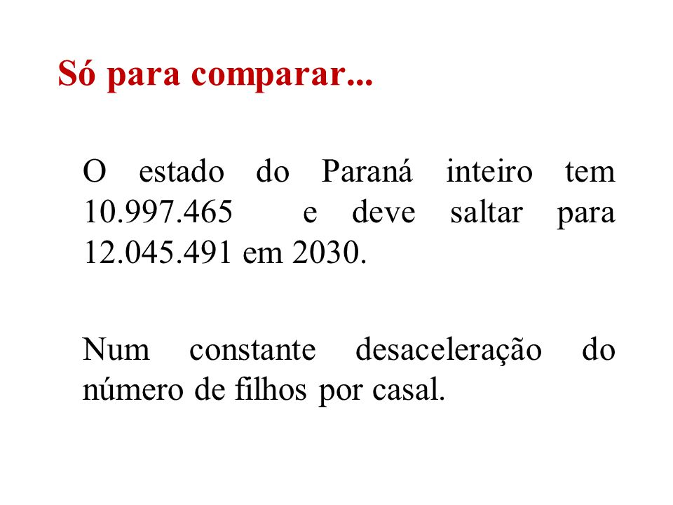 O estado do Paraná inteiro tem 10.997.465 e deve saltar para 12.045.491 em 2030. Num constante desaceleração do número de filhos por casal. Só para co