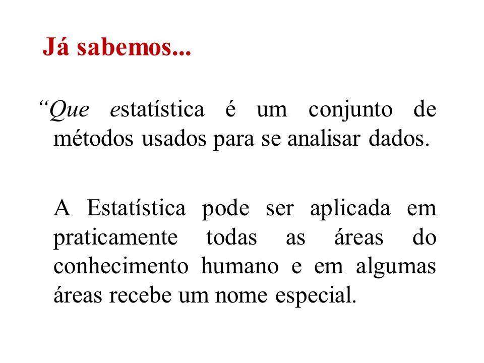 Este é o caso da Bioestatística, que trata de aplicações da Estatística em Ciências Biológicas e da Saúde.