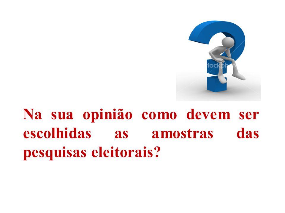 Na sua opinião como devem ser escolhidas as amostras das pesquisas eleitorais?
