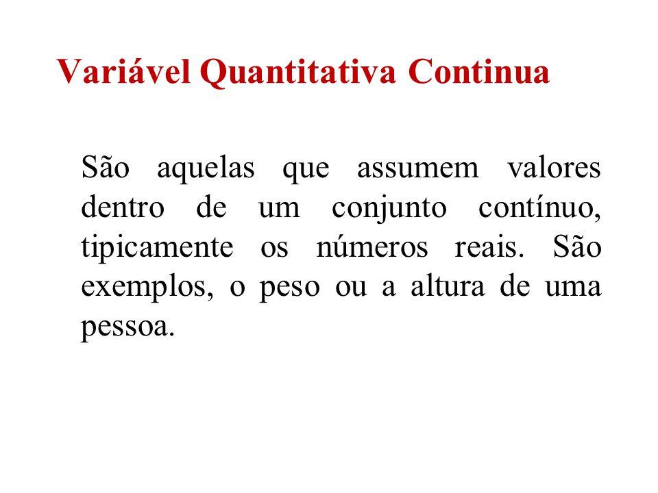 São aquelas que assumem valores dentro de um conjunto contínuo, tipicamente os números reais. São exemplos, o peso ou a altura de uma pessoa. Variável