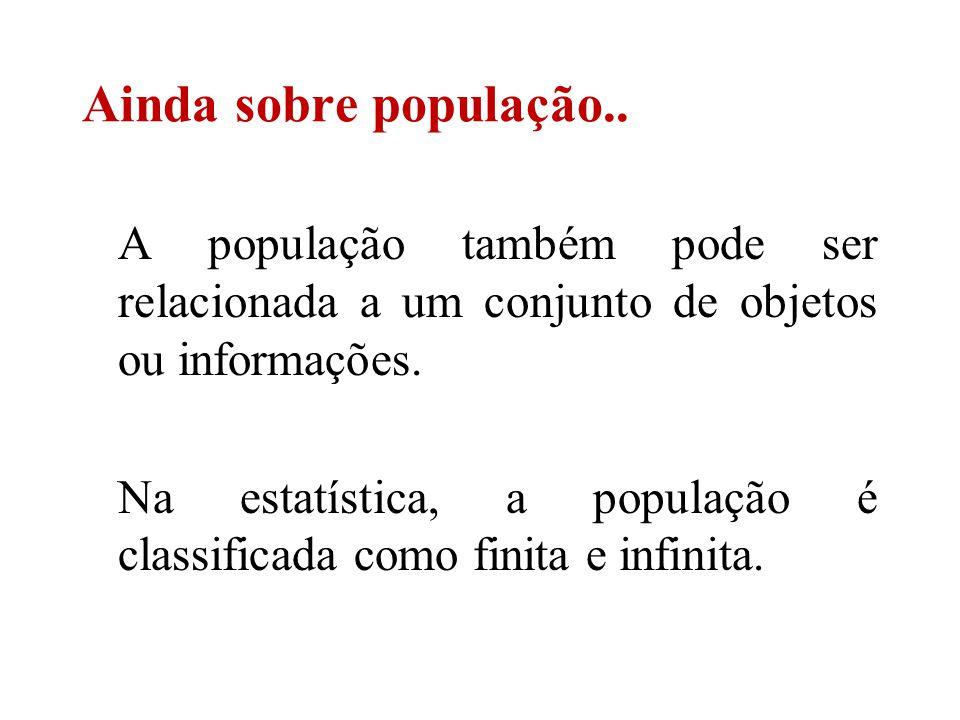 A população também pode ser relacionada a um conjunto de objetos ou informações. Na estatística, a população é classificada como finita e infinita. Ai
