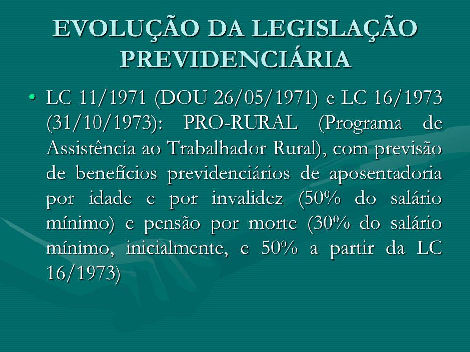 EVOLUÇÃO DA LEGISLAÇÃO PREVIDENCIÁRIA LC 11/1971 (DOU 26/05/1971) e LC 16/1973 (31/10/1973): PRO-RURAL (Programa de Assistência ao Trabalhador Rural),