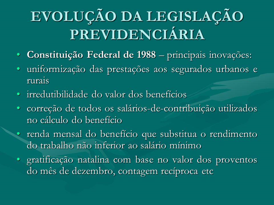 EVOLUÇÃO DA LEGISLAÇÃO PREVIDENCIÁRIA Constituição Federal de 1988 – principais inovações:Constituição Federal de 1988 – principais inovações: uniform