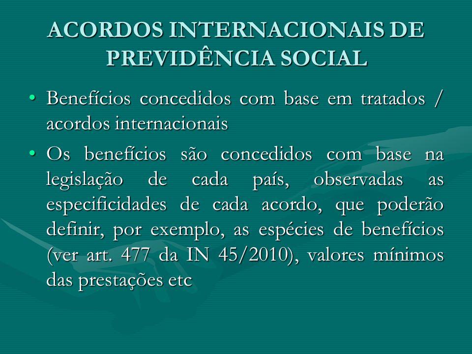 ACORDOS INTERNACIONAIS DE PREVIDÊNCIA SOCIAL Benefícios concedidos com base em tratados / acordos internacionaisBenefícios concedidos com base em trat