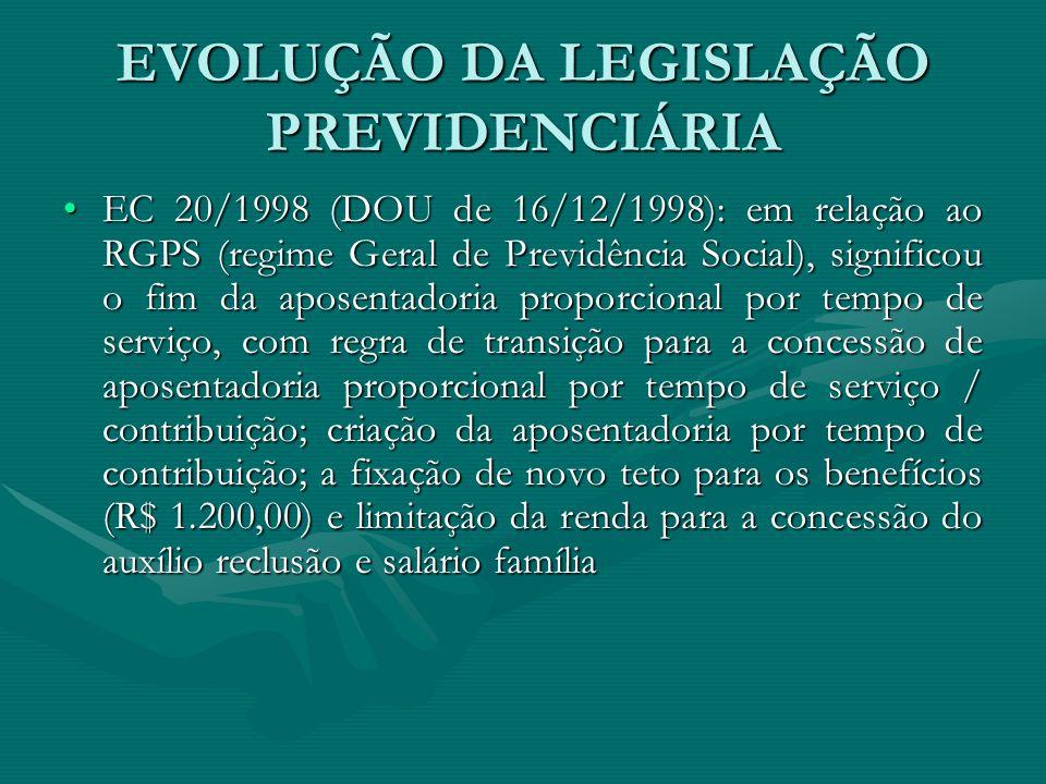 EVOLUÇÃO DA LEGISLAÇÃO PREVIDENCIÁRIA EC 20/1998 (DOU de 16/12/1998): em relação ao RGPS (regime Geral de Previdência Social), significou o fim da apo