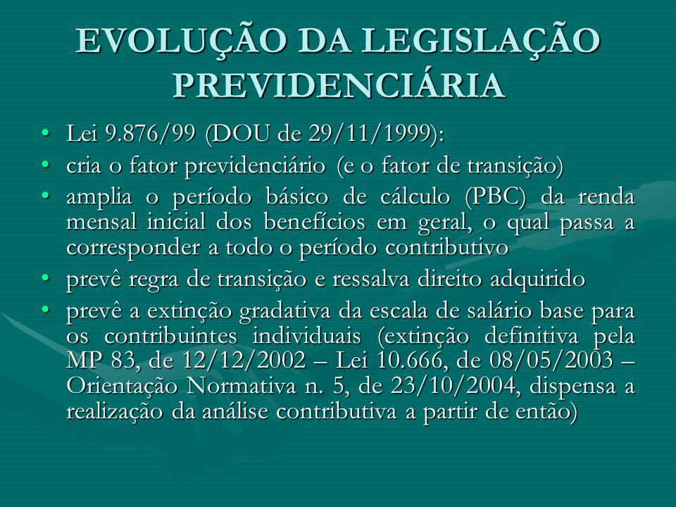EVOLUÇÃO DA LEGISLAÇÃO PREVIDENCIÁRIA Lei 9.876/99 (DOU de 29/11/1999):Lei 9.876/99 (DOU de 29/11/1999): cria o fator previdenciário (e o fator de tra