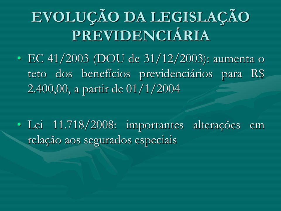 EVOLUÇÃO DA LEGISLAÇÃO PREVIDENCIÁRIA EC 41/2003 (DOU de 31/12/2003): aumenta o teto dos benefícios previdenciários para R$ 2.400,00, a partir de 01/1