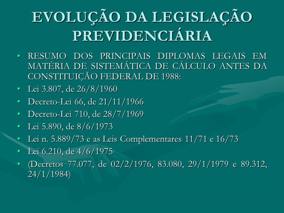EVOLUÇÃO DA LEGISLAÇÃO PREVIDENCIÁRIA RESUMO DOS PRINCIPAIS DIPLOMAS LEGAIS EM MATÉRIA DE SISTEMÁTICA DE CÁLCULO ANTES DA CONSTITUIÇÃO FEDERAL DE 1988