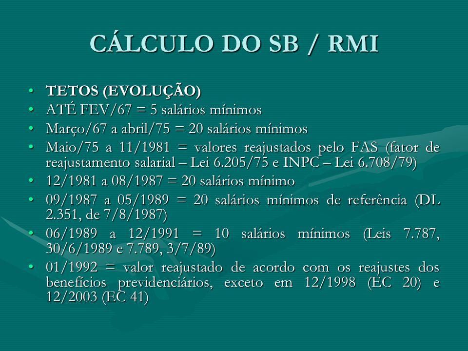 CÁLCULO DO SB / RMI TETOS (EVOLUÇÃO)TETOS (EVOLUÇÃO) ATÉ FEV/67 = 5 salários mínimosATÉ FEV/67 = 5 salários mínimos Março/67 a abril/75 = 20 salários