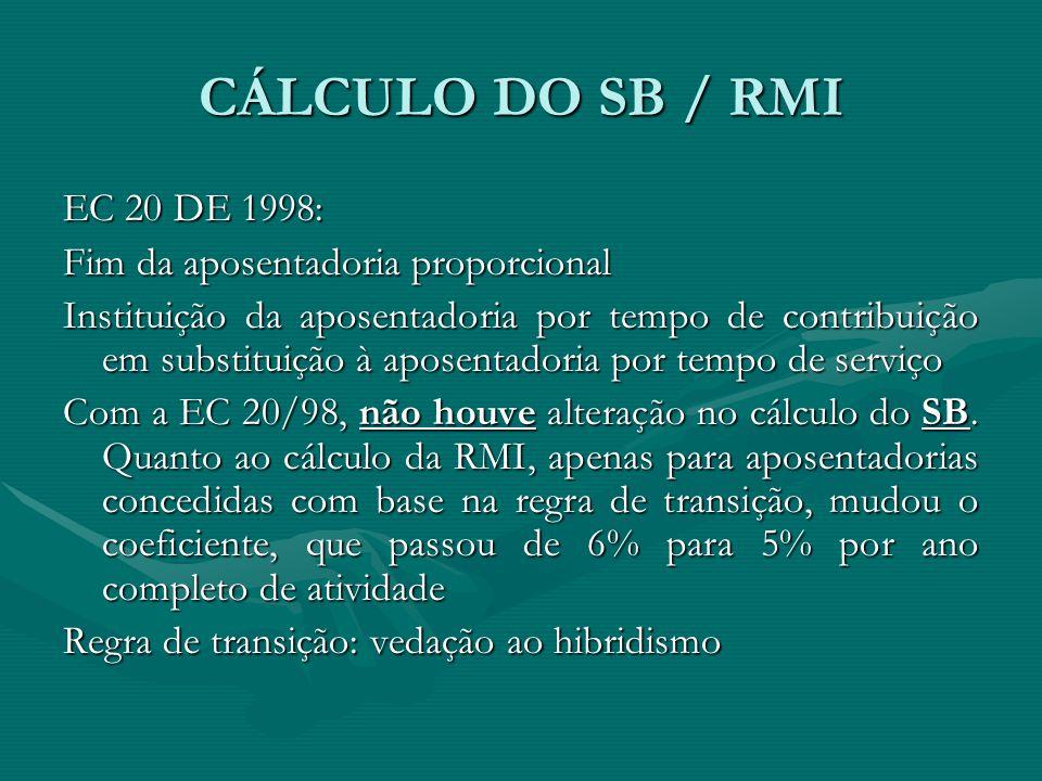 CÁLCULO DO SB / RMI EC 20 DE 1998: Fim da aposentadoria proporcional Instituição da aposentadoria por tempo de contribuição em substituição à aposenta