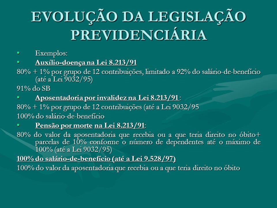 EVOLUÇÃO DA LEGISLAÇÃO PREVIDENCIÁRIA Exemplos:Exemplos: Auxílio-doença na Lei 8.213/91Auxílio-doença na Lei 8.213/91 80% + 1% por grupo de 12 contrib
