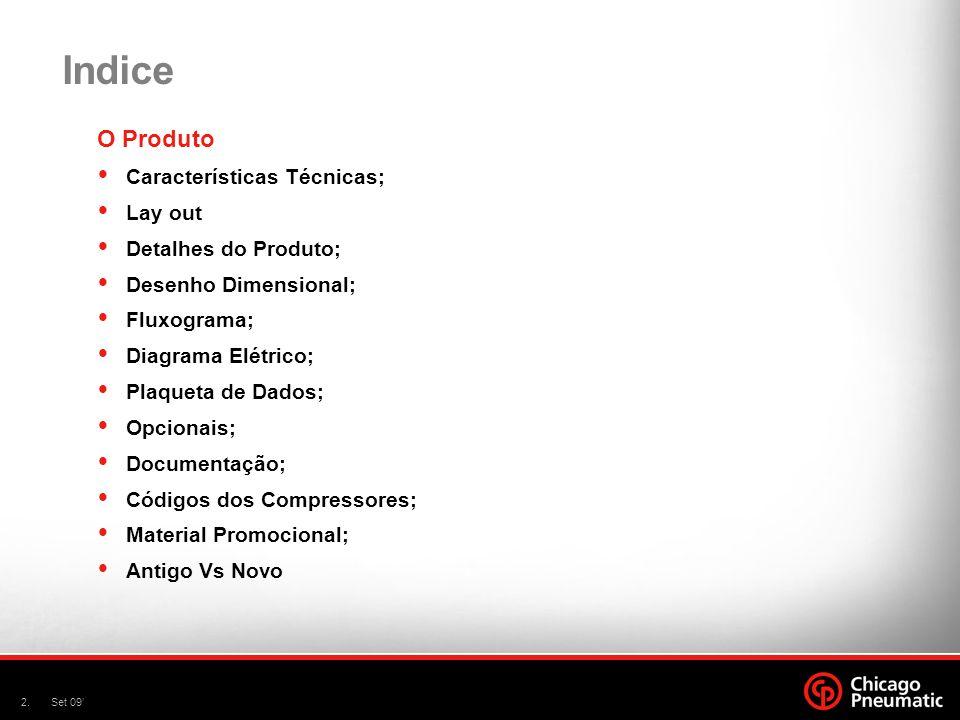 2.Set 09' Indice O Produto  Características Técnicas;  Lay out  Detalhes do Produto;  Desenho Dimensional;  Fluxograma;  Diagrama Elétrico;  Pl