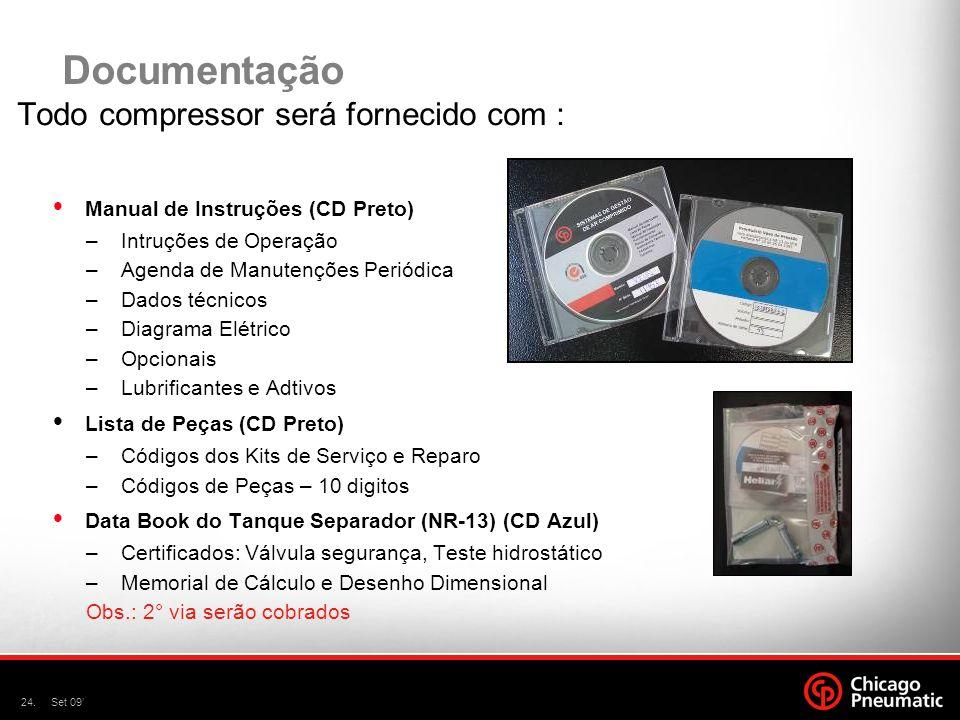 24.Set 09' Documentação Todo compressor será fornecido com :  Manual de Instruções (CD Preto) –Intruções de Operação –Agenda de Manutenções Periódica