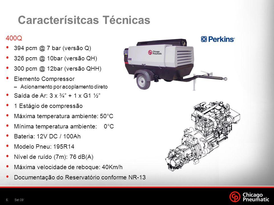 5.Set 09' Caracterísitcas Técnicas 400Q  394 pcm @ 7 bar (versão Q)  326 pcm @ 10bar (versão QH)  300 pcm @ 12bar (versão QHH)  Elemento Compresso