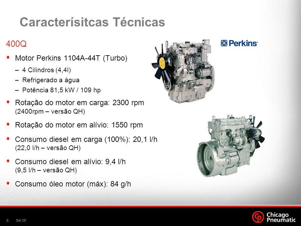 6.Set 09' Caracterísitcas Técnicas 400Q  Motor Perkins 1104A-44T (Turbo) –4 Cilindros (4,4l) –Refrigerado a água –Potência 81,5 kW / 109 hp  Rotação