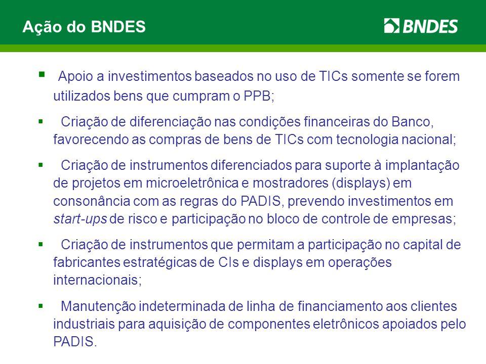  Apoio a investimentos baseados no uso de TICs somente se forem utilizados bens que cumpram o PPB;  Criação de diferenciação nas condições financeir