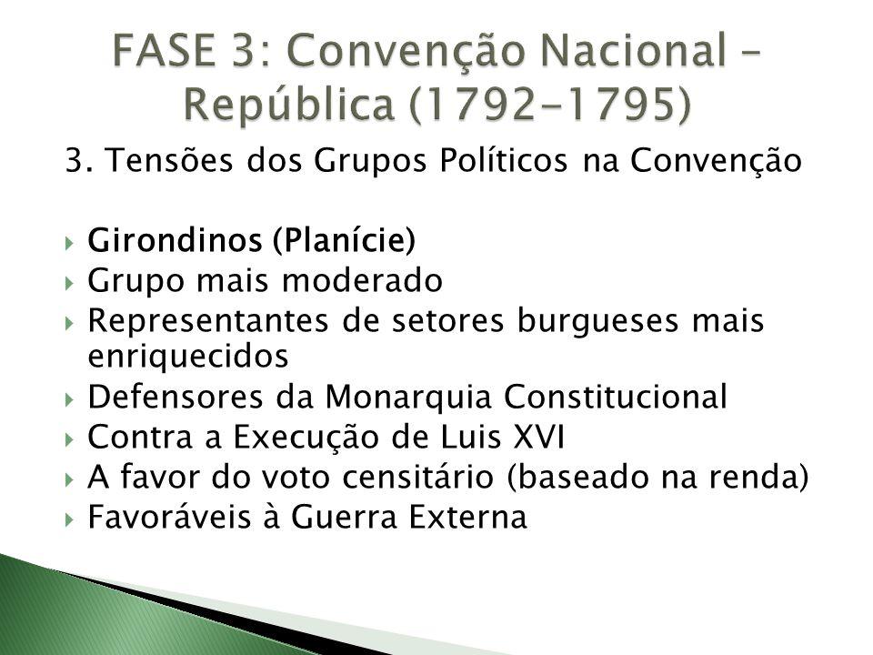 3. Tensões dos Grupos Políticos na Convenção  Girondinos (Planície)  Grupo mais moderado  Representantes de setores burgueses mais enriquecidos  D