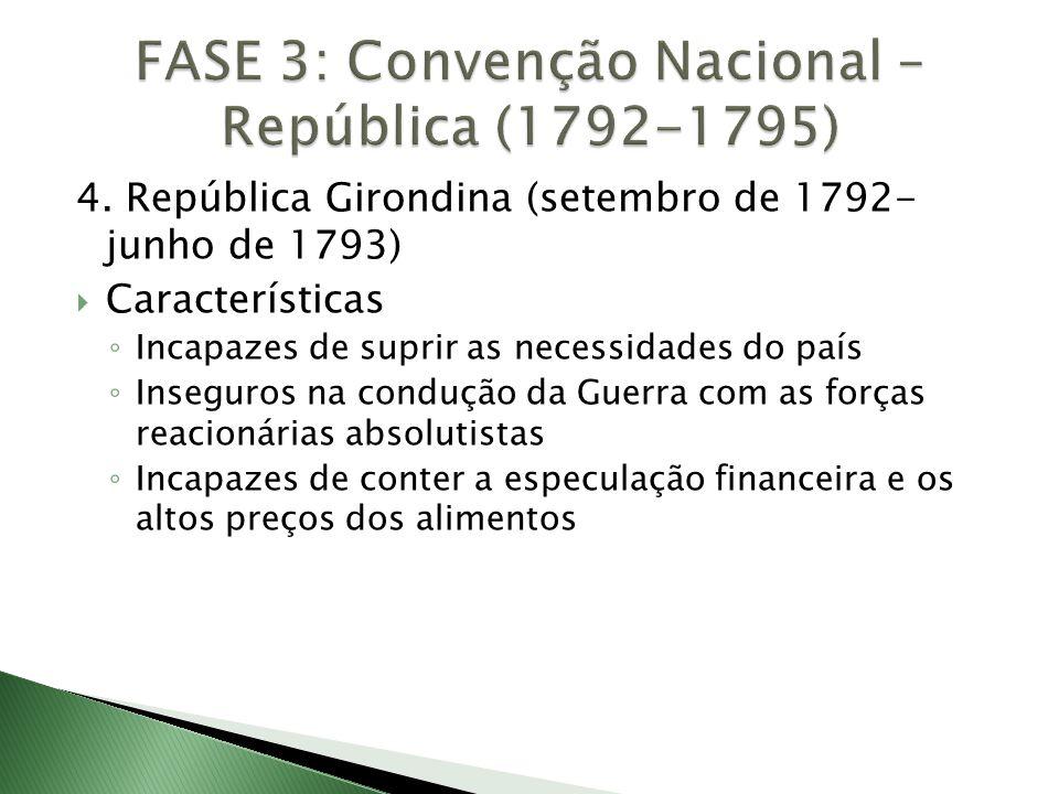 4. República Girondina (setembro de 1792- junho de 1793)  Características ◦ Incapazes de suprir as necessidades do país ◦ Inseguros na condução da Gu
