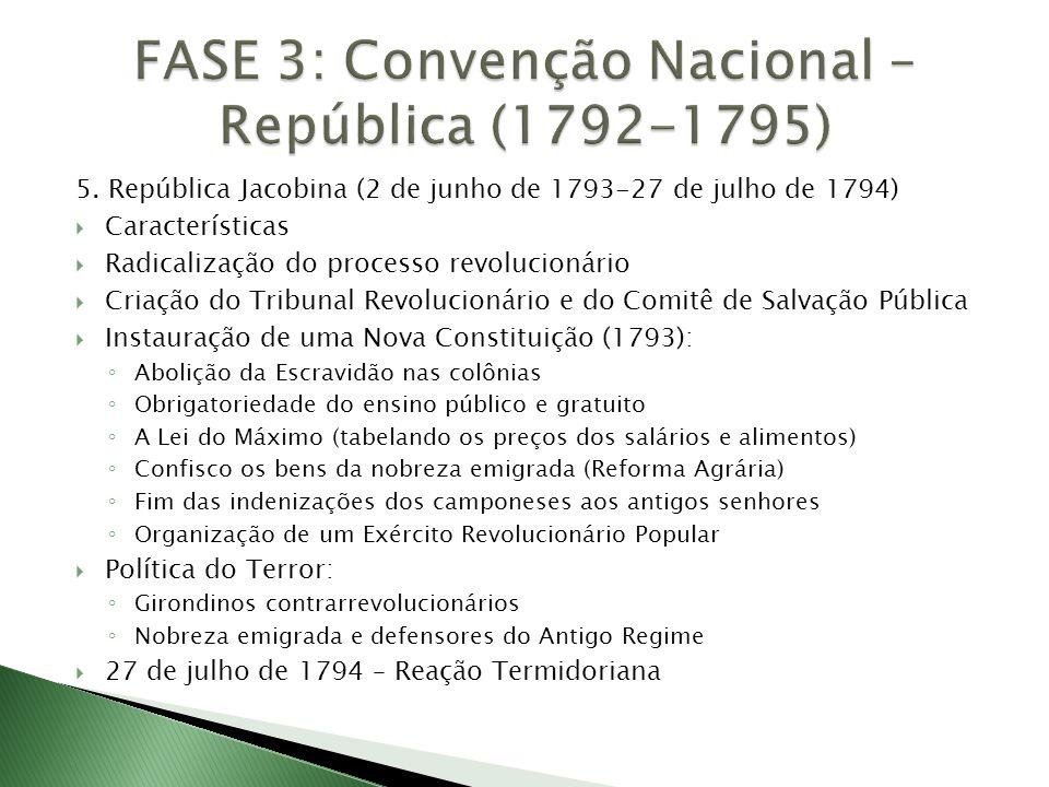 5. República Jacobina (2 de junho de 1793-27 de julho de 1794)  Características  Radicalização do processo revolucionário  Criação do Tribunal Revo