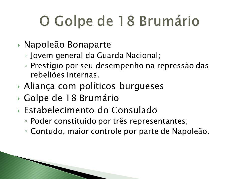  Napoleão Bonaparte ◦ Jovem general da Guarda Nacional; ◦ Prestígio por seu desempenho na repressão das rebeliões internas.  Aliança com políticos b