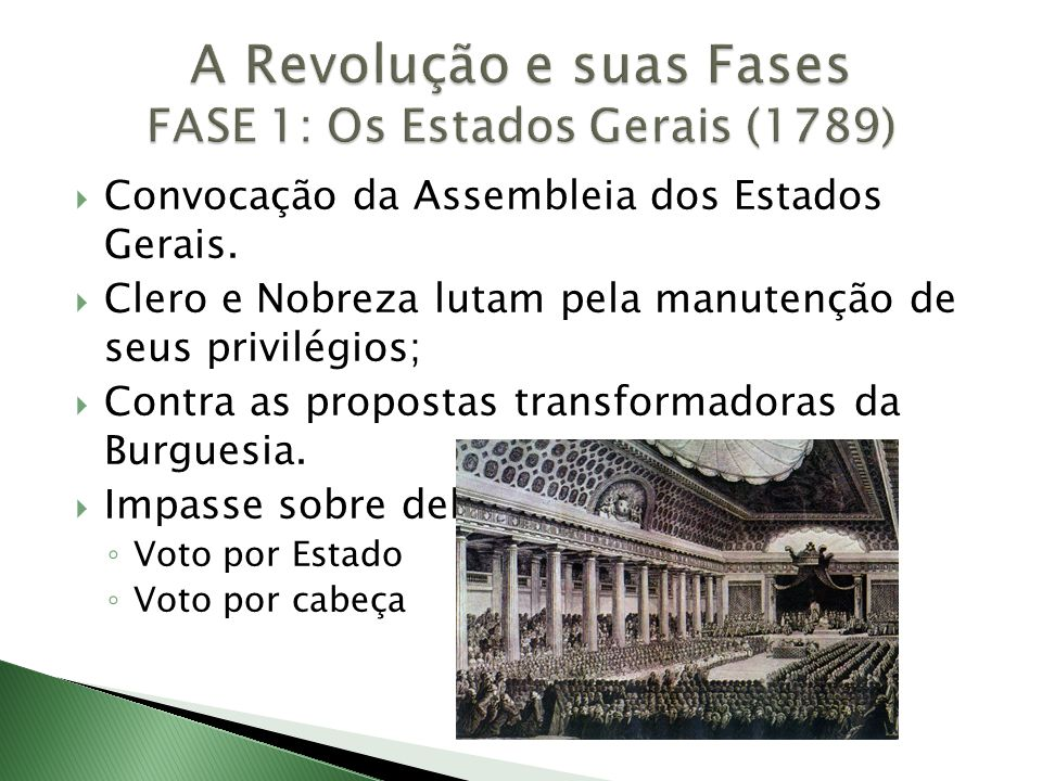  Convocação da Assembleia dos Estados Gerais.  Clero e Nobreza lutam pela manutenção de seus privilégios;  Contra as propostas transformadoras da B