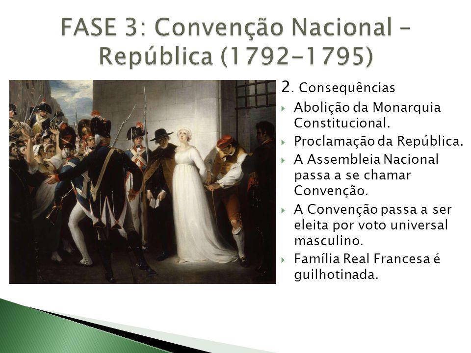 2. Consequências  Abolição da Monarquia Constitucional.  Proclamação da República.  A Assembleia Nacional passa a se chamar Convenção.  A Convençã