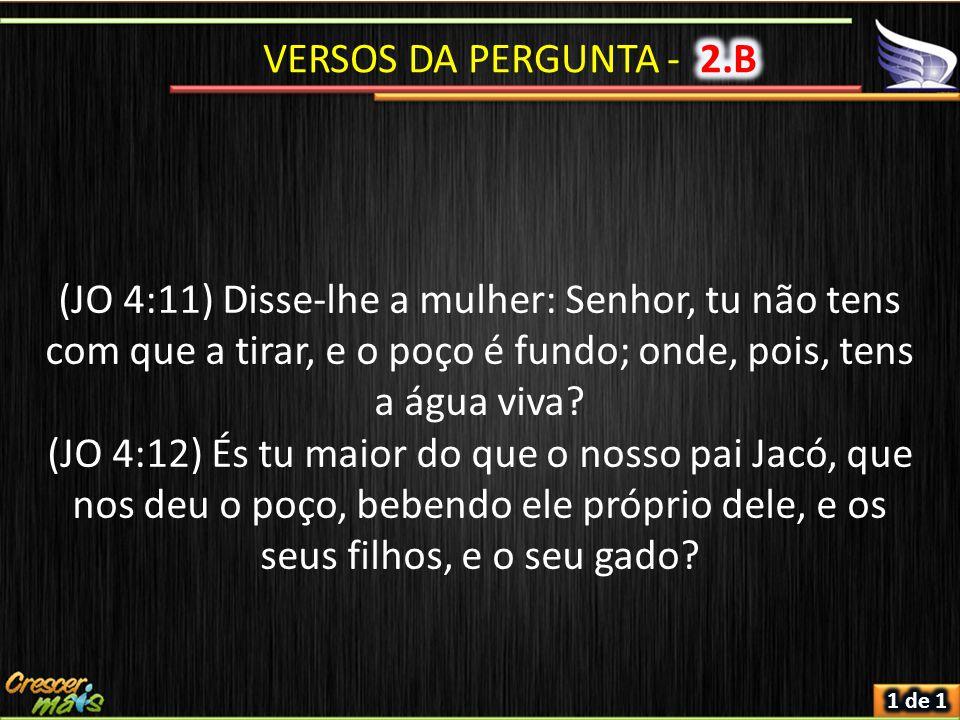 (JO 4:11) Disse-lhe a mulher: Senhor, tu não tens com que a tirar, e o poço é fundo; onde, pois, tens a água viva.