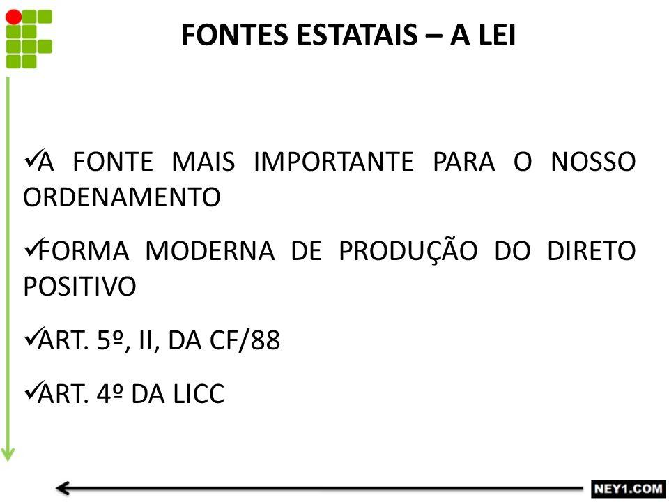 FONTES ESTATAIS – A LEI A FONTE MAIS IMPORTANTE PARA O NOSSO ORDENAMENTO FORMA MODERNA DE PRODUÇÃO DO DIRETO POSITIVO ART.