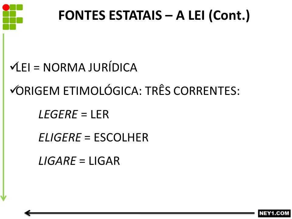 LEI = NORMA JURÍDICA ORIGEM ETIMOLÓGICA: TRÊS CORRENTES: LEGERE = LER ELIGERE = ESCOLHER LIGARE = LIGAR FONTES ESTATAIS – A LEI (Cont.)