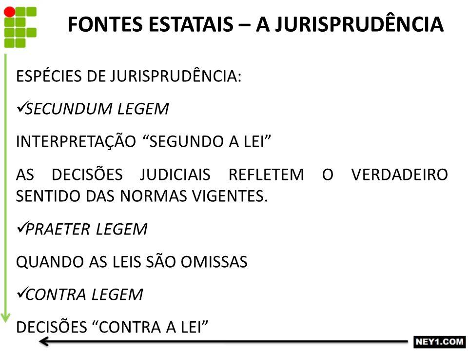ESPÉCIES DE JURISPRUDÊNCIA: SECUNDUM LEGEM INTERPRETAÇÃO SEGUNDO A LEI AS DECISÕES JUDICIAIS REFLETEM O VERDADEIRO SENTIDO DAS NORMAS VIGENTES.