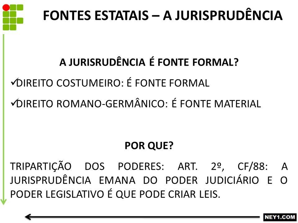 A JURISRUDÊNCIA É FONTE FORMAL.