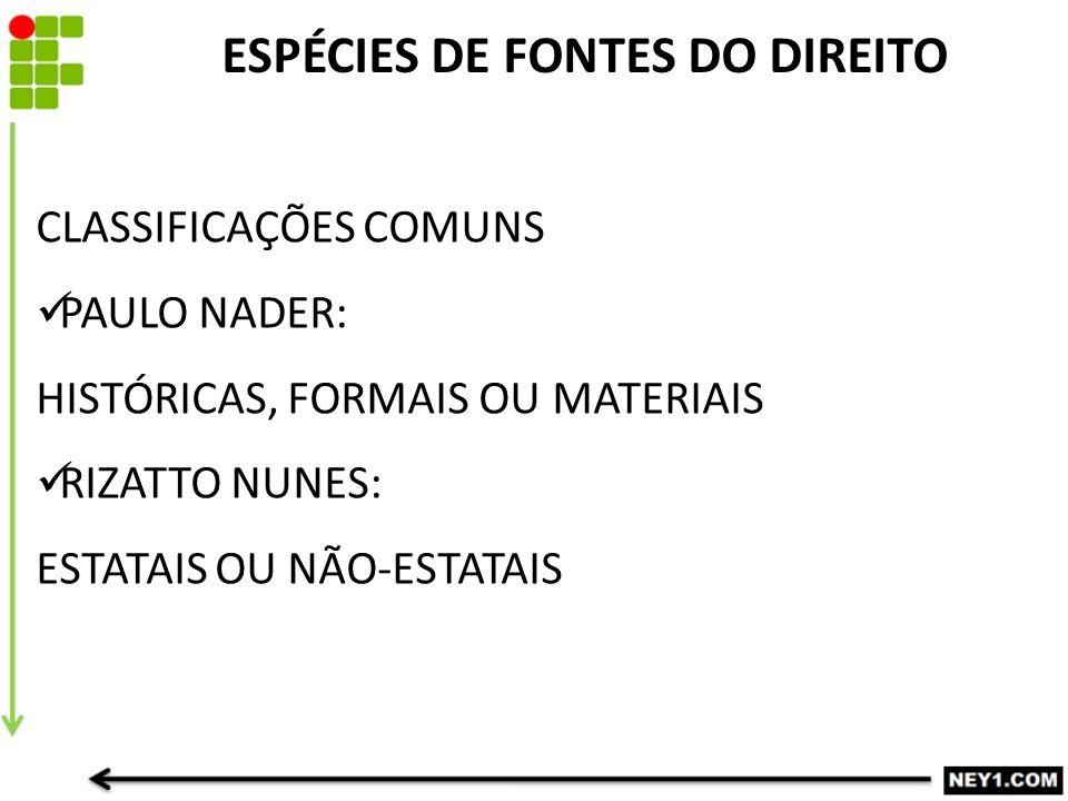 CLASSIFICAÇÕES COMUNS PAULO NADER: HISTÓRICAS, FORMAIS OU MATERIAIS RIZATTO NUNES: ESTATAIS OU NÃO-ESTATAIS ESPÉCIES DE FONTES DO DIREITO
