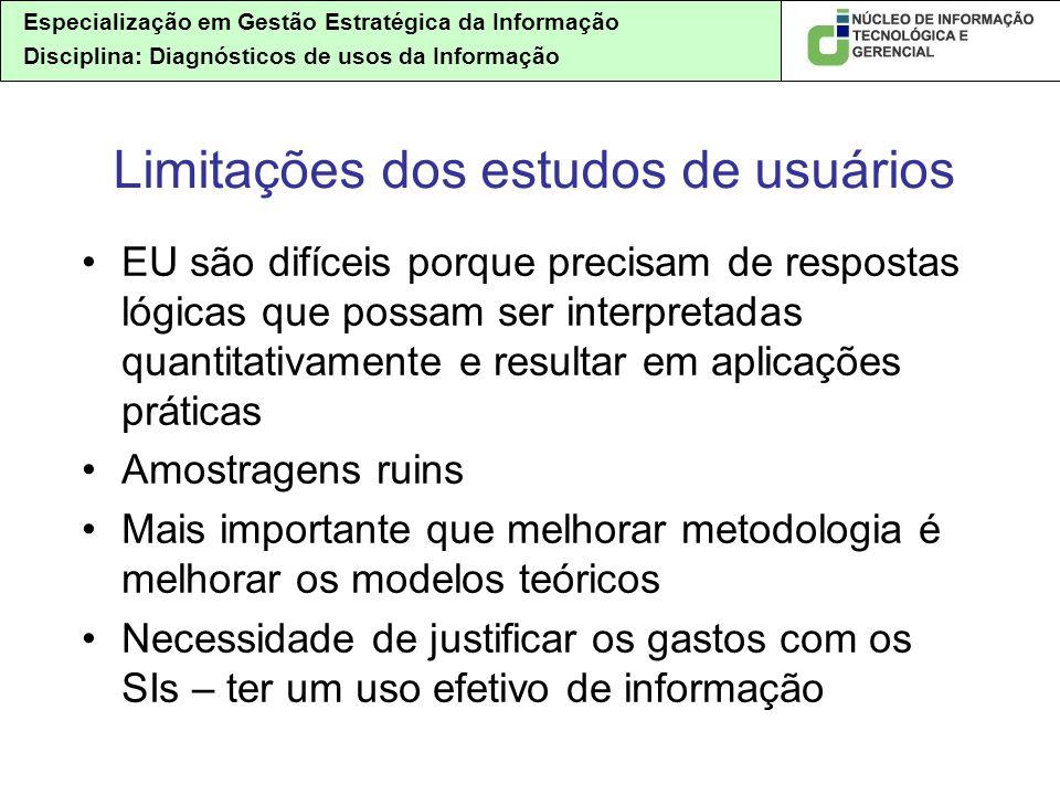 Especialização em Gestão Estratégica da Informação Disciplina: Diagnósticos de usos da Informação EU são difíceis porque precisam de respostas lógicas