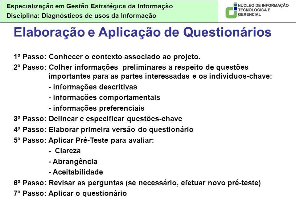 Especialização em Gestão Estratégica da Informação Disciplina: Diagnósticos de usos da Informação Elaboração e Aplicação de Questionários 1º Passo: Co