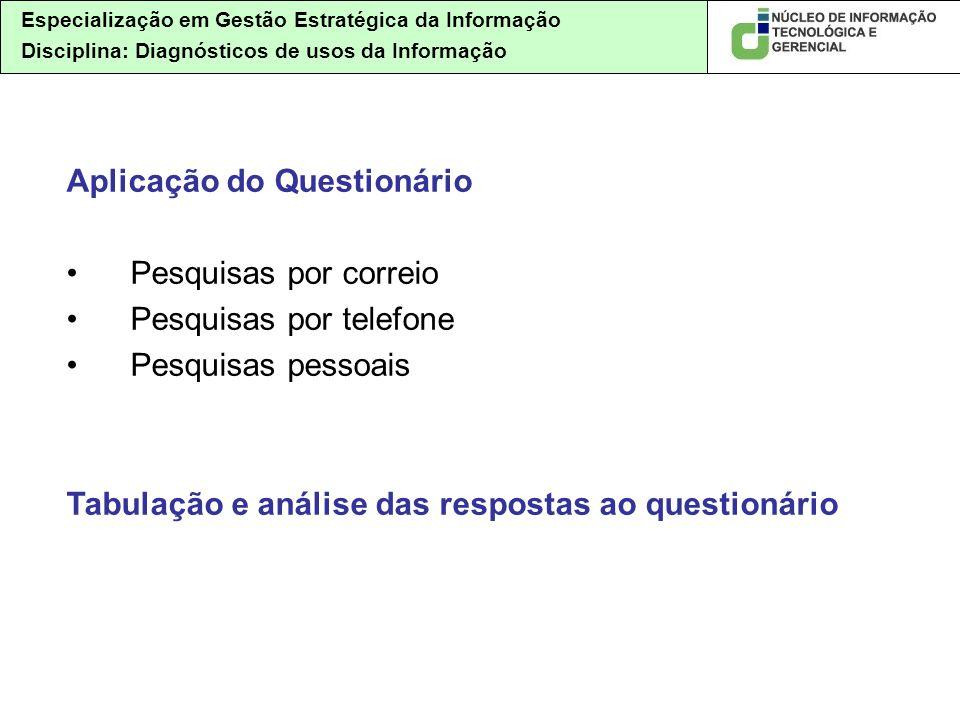 Especialização em Gestão Estratégica da Informação Disciplina: Diagnósticos de usos da Informação Aplicação do Questionário Pesquisas por correio Pesq