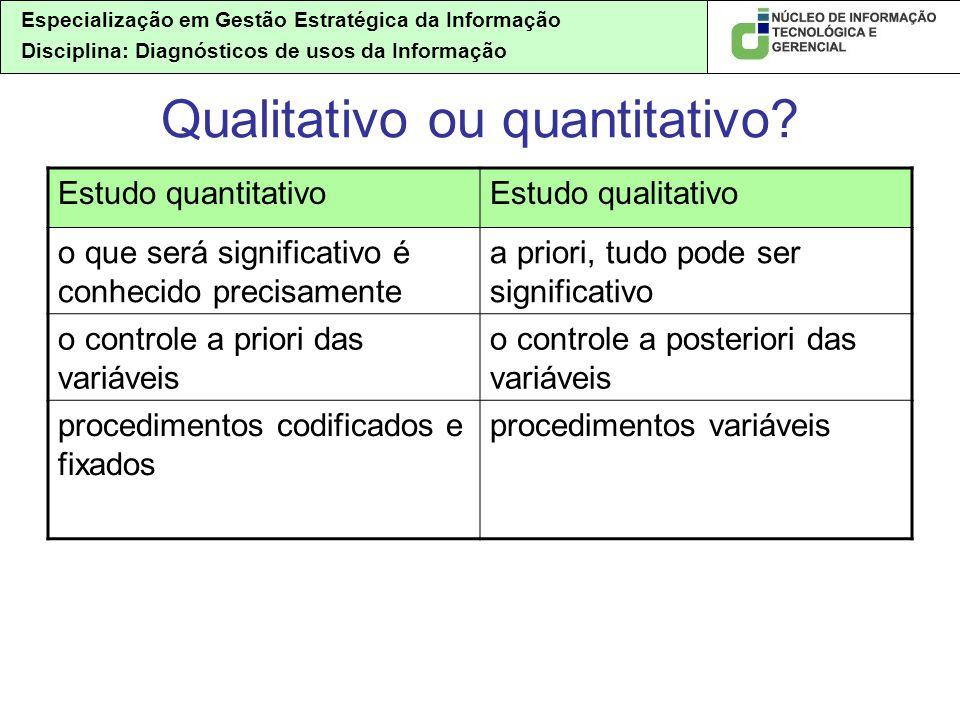 Especialização em Gestão Estratégica da Informação Disciplina: Diagnósticos de usos da Informação Qualitativo ou quantitativo.