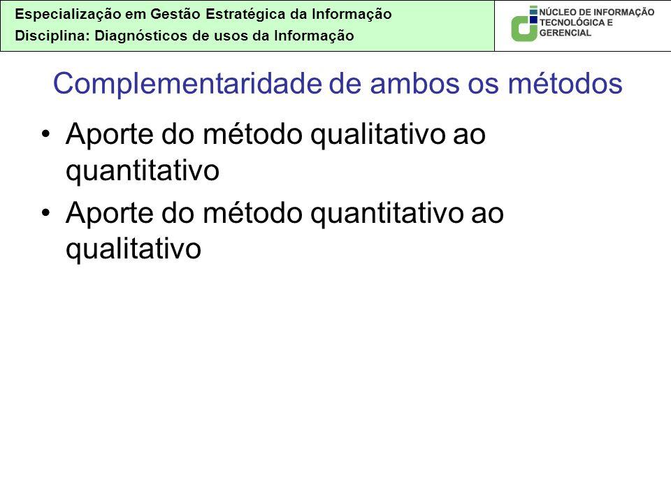 Especialização em Gestão Estratégica da Informação Disciplina: Diagnósticos de usos da Informação Complementaridade de ambos os métodos Aporte do método qualitativo ao quantitativo Aporte do método quantitativo ao qualitativo