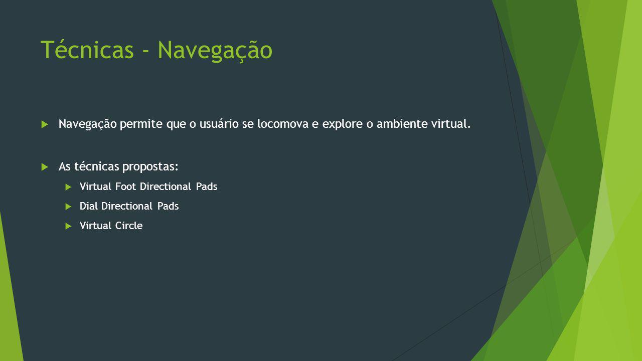 Técnicas - Navegação  Navegação permite que o usuário se locomova e explore o ambiente virtual.  As técnicas propostas:  Virtual Foot Directional P