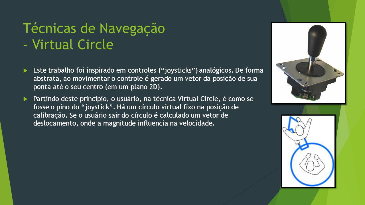 """Técnicas de Navegação - Virtual Circle  Este trabalho foi inspirado em controles (""""joysticks"""") analógicos. De forma abstrata, ao movimentar o control"""