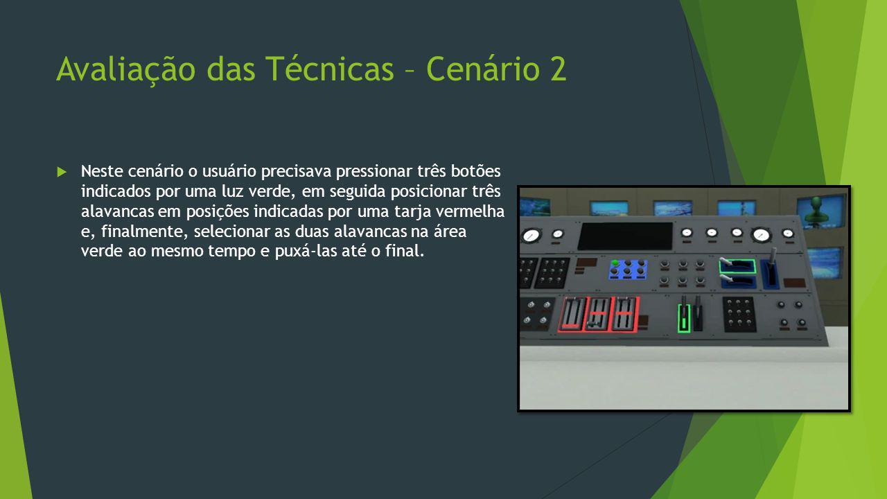 Avaliação das Técnicas – Cenário 2  Neste cenário o usuário precisava pressionar três botões indicados por uma luz verde, em seguida posicionar três