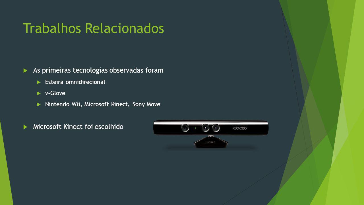 Trabalhos Relacionados  As primeiras tecnologias observadas foram  Esteira omnidirecional  v-Glove  Nintendo Wii, Microsoft Kinect, Sony Move  Mi