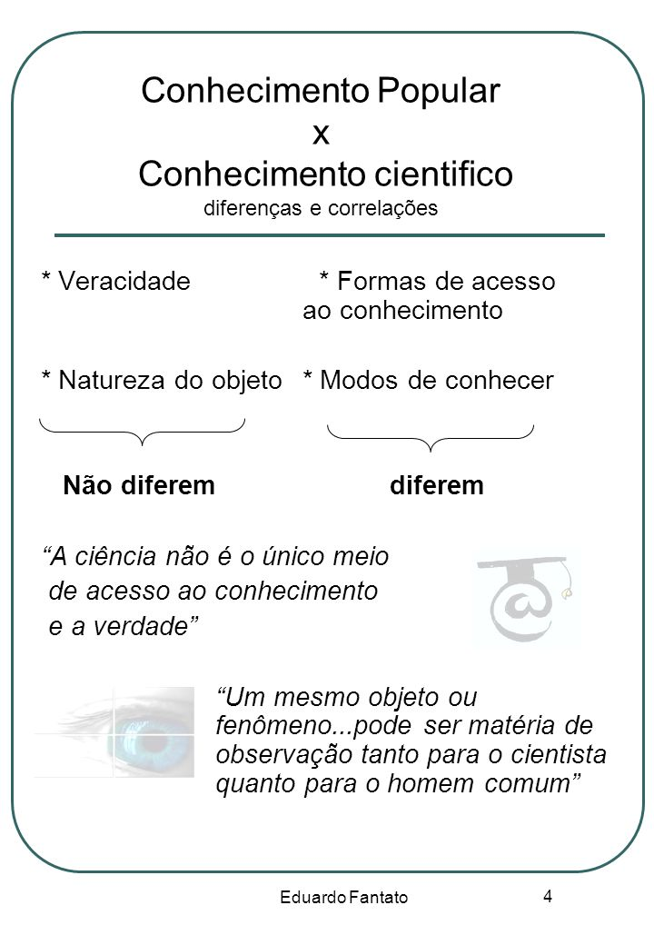 Eduardo Fantato 4 Conhecimento Popular x Conhecimento cientifico diferenças e correlações * Veracidade * Formas de acesso ao conhecimento * Natureza d