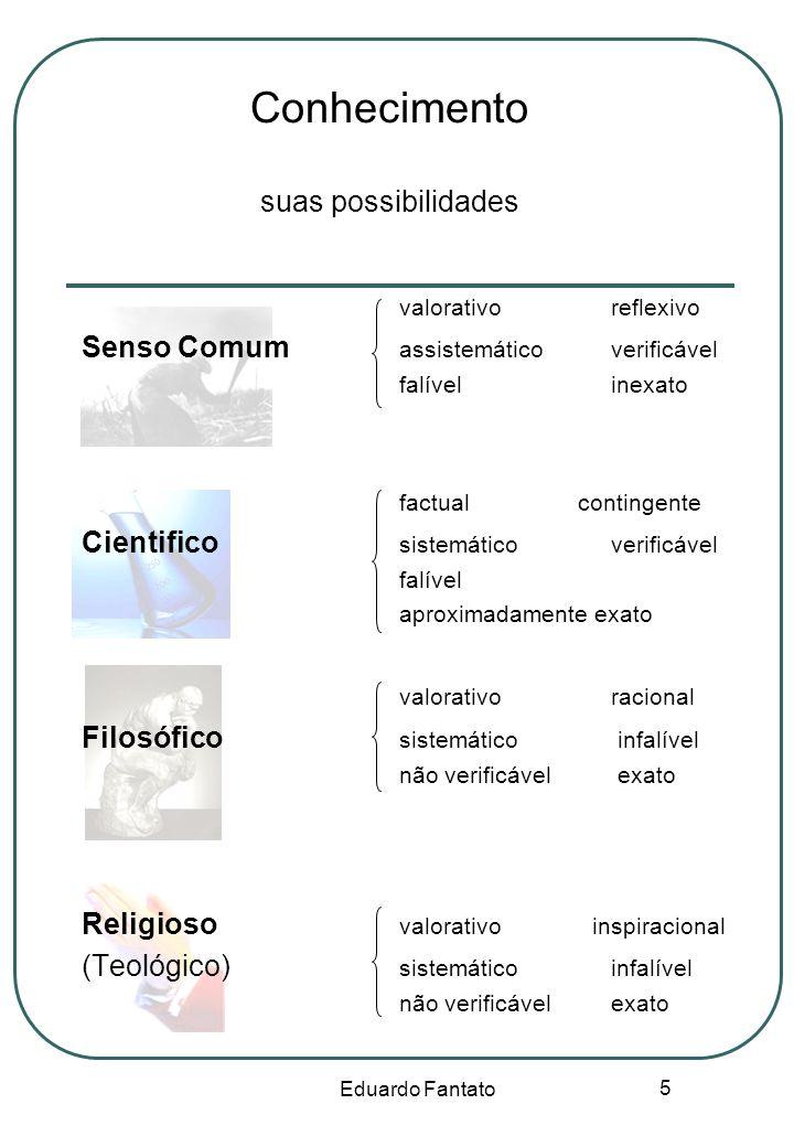 Eduardo Fantato 5 Conhecimento suas possibilidades valorativoreflexivo Senso Comum assistemáticoverificável falívelinexato factual contingente Cientif