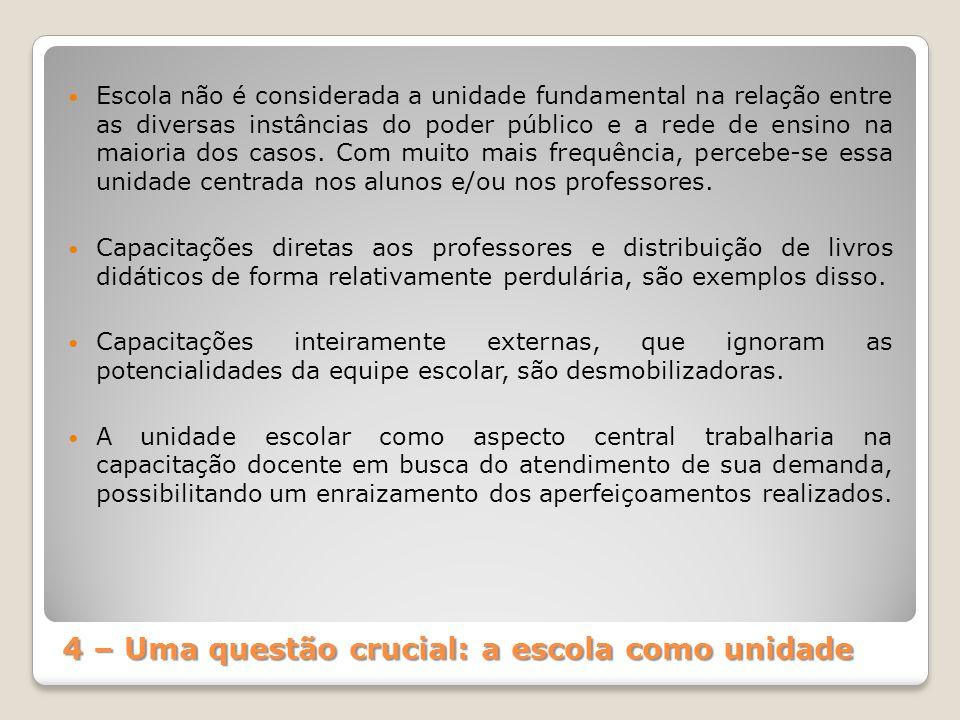 4 – Uma questão crucial: a escola como unidade Escola não é considerada a unidade fundamental na relação entre as diversas instâncias do poder público